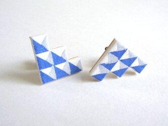 :Sale: ブロック柄イヤリング  S <Blue>の画像
