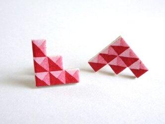 :Sale: ブロック柄イヤリング  S <Red>の画像