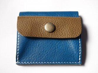ふたつ折りのお財布[ブルー×オリーブ]の画像