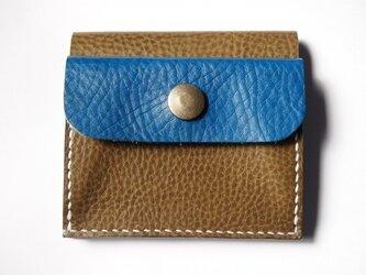ふたつ折りのお財布[オリーブ×ブルー]の画像
