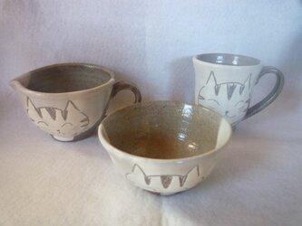 猫 陶器3点 マグカップ お茶碗 納豆鉢の画像