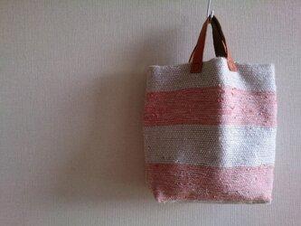 しましま裂き織りバッグの画像