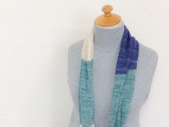 コットンとリネンの機械編みスヌード アクアグリーン×藍の画像