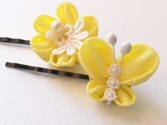 花とちょうちょのヘアピン*黄色【つまみ細工/ちりめん】の画像