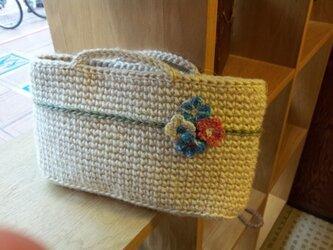 【再販】麻ひも バッグインバッグ お花モチーフの画像