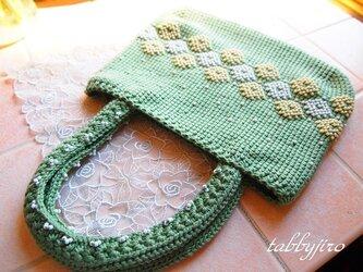 ビーズ編みバッグ-lunch bag(たんぽぽ)の画像