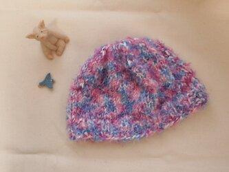 ふわふわニット帽【ピンク系】の画像