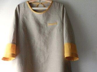 ☆リネン生成+黄色Aラインワンピースの画像