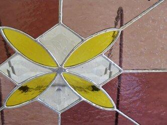 ステンドグラスパネル (パープル×淡いパープル+イエロー)の画像