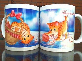 爽やかで可愛い子猫のマグカップの画像