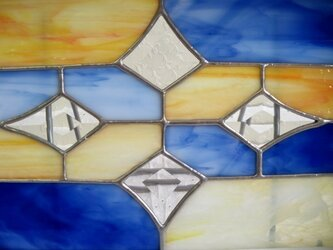 ステンドグラスパネル (ブルー×淡いオレンジ)の画像