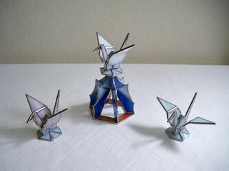 ブルー 折り鶴のステンドグラスセット・ 正月飾りにも最適!の画像