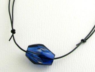 カット吹きガラスのペンダント(青)の画像