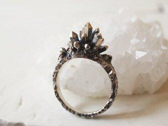【9号】水晶クラスターと母岩のリングの画像