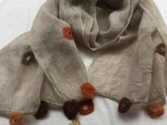 春夏用 リネンと羊毛のストール (ロング)の画像