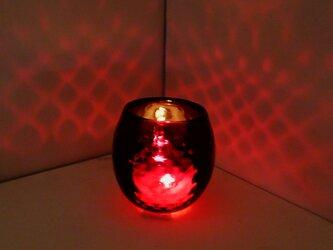 赤いダイヤ柄キャンドルホルダーの画像