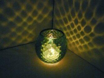 緑色のダイヤ柄キャンドルホルダーの画像