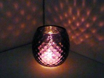 紫色のダイヤ柄キャンドルホルダーの画像