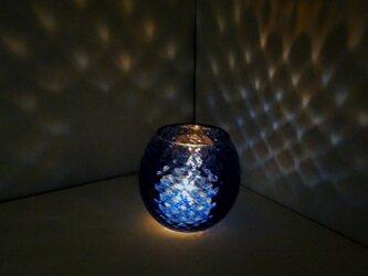 コバルト色のダイヤ柄キャンドルホルダー☆ご注文前にメッセージをお願いいたしますの画像