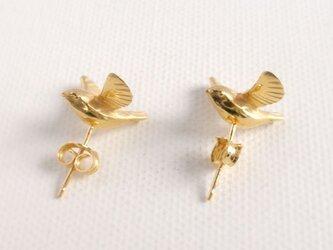 羽ばたく小鳥のピアスの画像