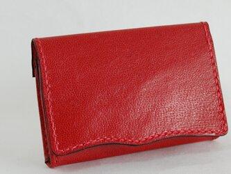 革のカード/名刺入れ 流れるような曲線デザイン 赤/レッドの画像