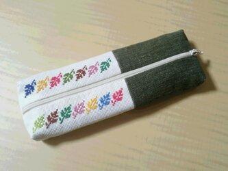 千尋様ご依頼商品 クロスステッチのペンケース 四季の葉っぱたちの画像