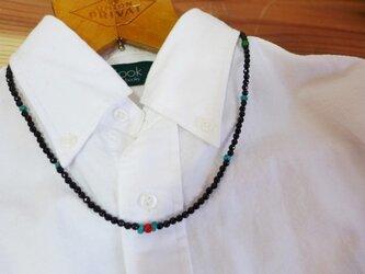 オールドホワイトハーツ*ターコイズ オニキスベースネックレスの画像