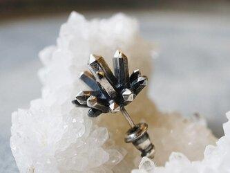 水晶クラスターのピアス(ロゼット)の画像