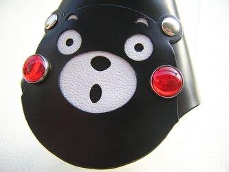 くまモンの本革キーケース(ブラック)の画像