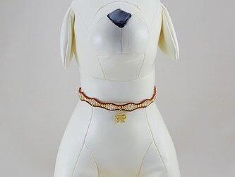 ウェーブクリスタルネックレス・レッド/ペット用(サイズ別注有)の画像