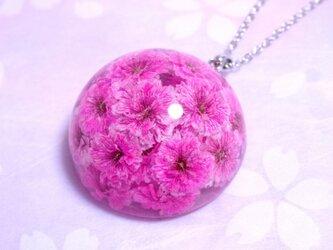 かすみ草のドーム型ネックレス・ピンクの画像
