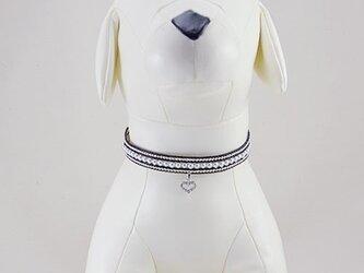 パール&ハートネックレス小・ブラック/ペット用(サイズ別注有)の画像