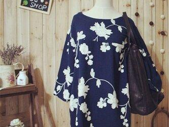 【受注製作】刺繍 可愛いお花柄 綿と麻のワンピース SW2245の画像