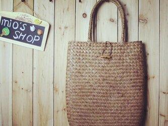【受注製作】草の自然な香り 手編み トートカゴバッグ B3152の画像