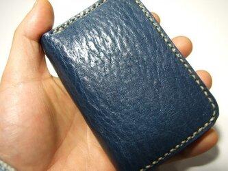 カードも入るファスナーコインケース  ネイビーにベージュの画像