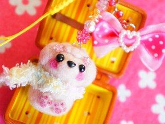 トイプードル(ピンク)ピンクリボンストラップ☆の画像