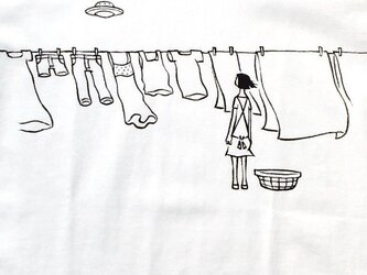 洗濯物とUFOの画像