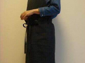 ☆リネン:丈94cm ダークネイビーのエプロン☆の画像
