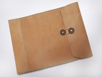 トスカーナ床革のマニラ封筒 A4ファイル対応 水色糸Aの画像