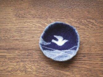 羊毛小皿/白い鳥の画像