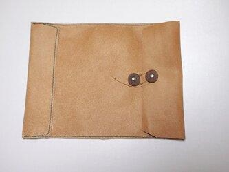 トスカーナ床革のマニラ封筒 A4ファイル対応 水色糸Bの画像