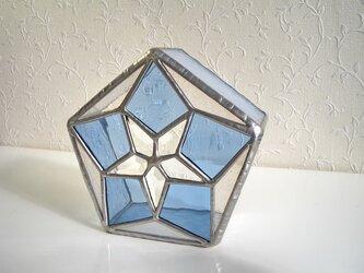 スター・ブルー(ステンドグラスのミニランプ)電池式のLEDキャンドル付きの画像