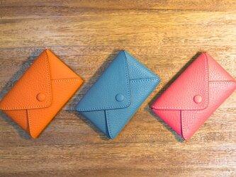 レター型・革の名刺入れ(カードケース)カラーオーダー可の画像