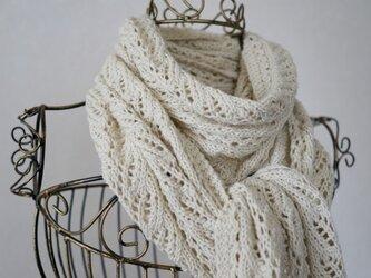 ウール&コットンの透かし編みマフラー(アイボリー)の画像