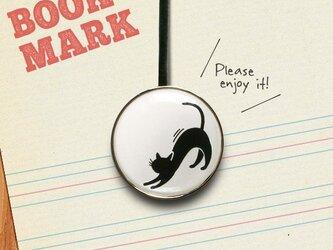 「伸びをする黒ネコのクリップ型ブックマーク」040の画像