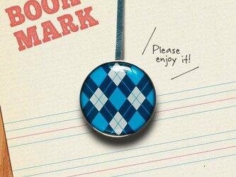 「アーガイルチェック柄のブックマーク(青)」no.32の画像