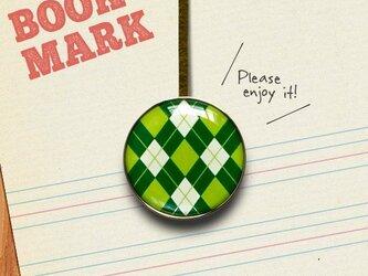 「アーガイルチェック柄のブックマーク(緑)」no.31の画像