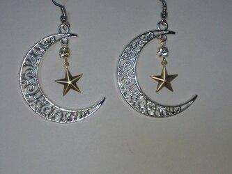 おしゃれ 月と星ピアスストーン付きの画像