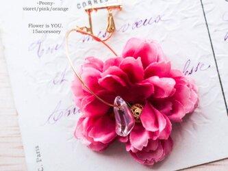 フラワーイヤリングPeonyピオニー芍薬/Pinkピンク さくら桜ピンクの画像
