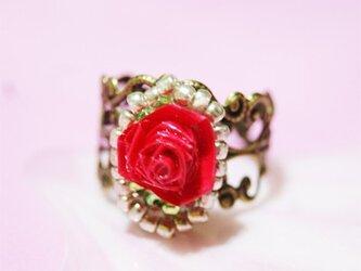 真っ赤な薔薇の指輪の画像